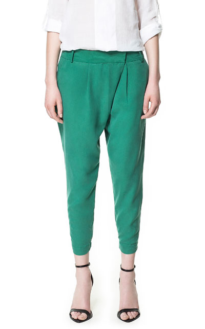 Zara green draped trousers